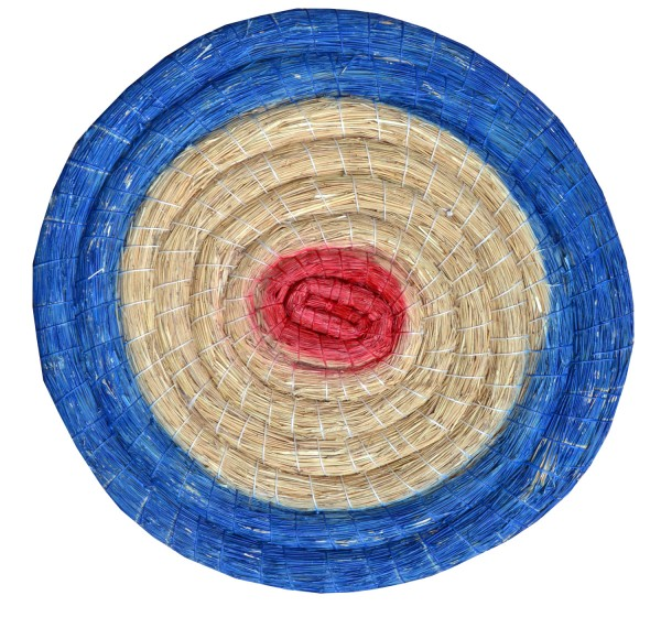 80 x 8 cm runde Traditionelle Strohscheibe Deluxe mit farbigen Ringen